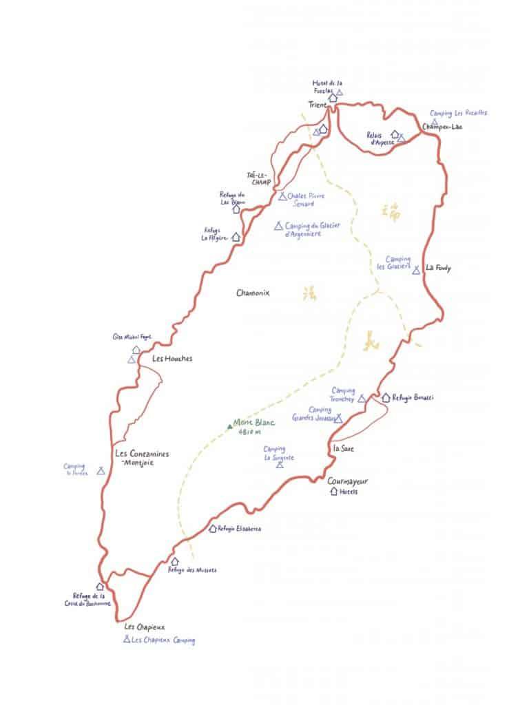 TMB 白朗峰 步道 地圖 手繪